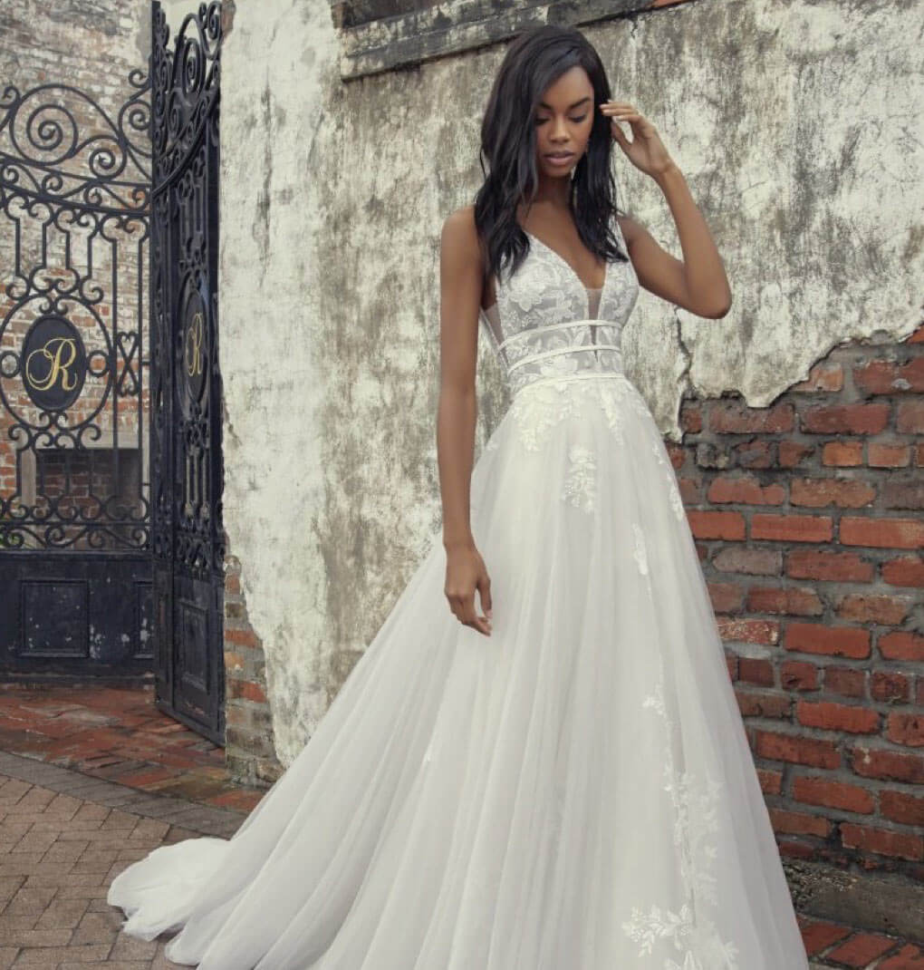 Model wearing a white J&B bridals gown