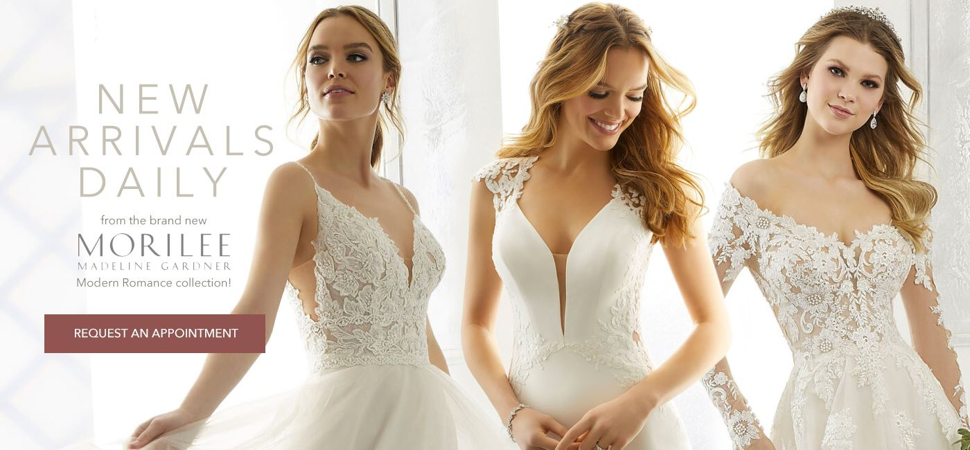 New Morilee Arrivals Daily banner showing three models in wedding dresses