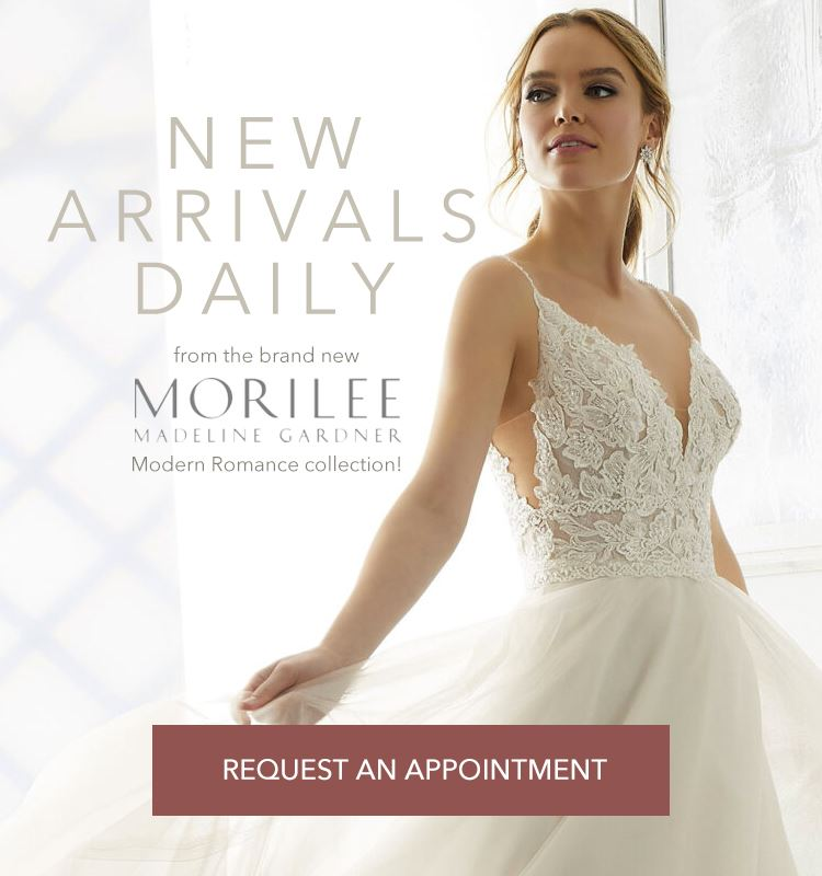 New Morilee Arrivals Daily banner showing a model wearing a wedding dress shown on mobile device